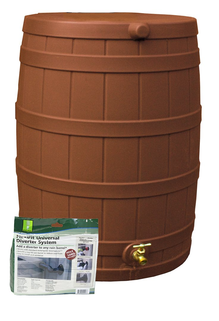 Good Ideas RW50-DIV-TC Rain Wizard Rain Barrel 50-Gallon Diverter Kit, Terra Cotta