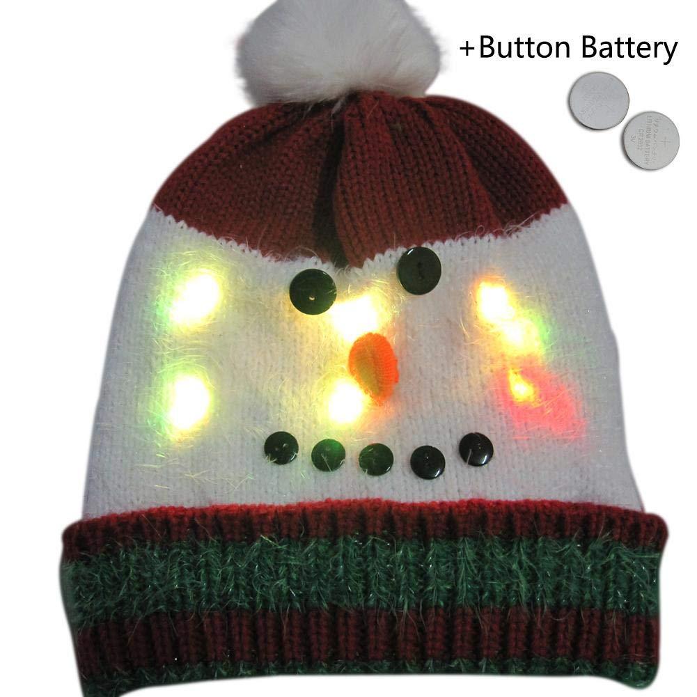 Casquette en Laine tricot/ée l/ég/ère color/ée /à Armure Toile Sunronal Chapeau rougeoyant de Style de No/ël