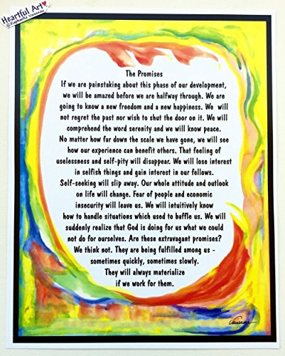 Promises Aa 12 step recovery poster - Heartful Art by Raphaella Vaisseau