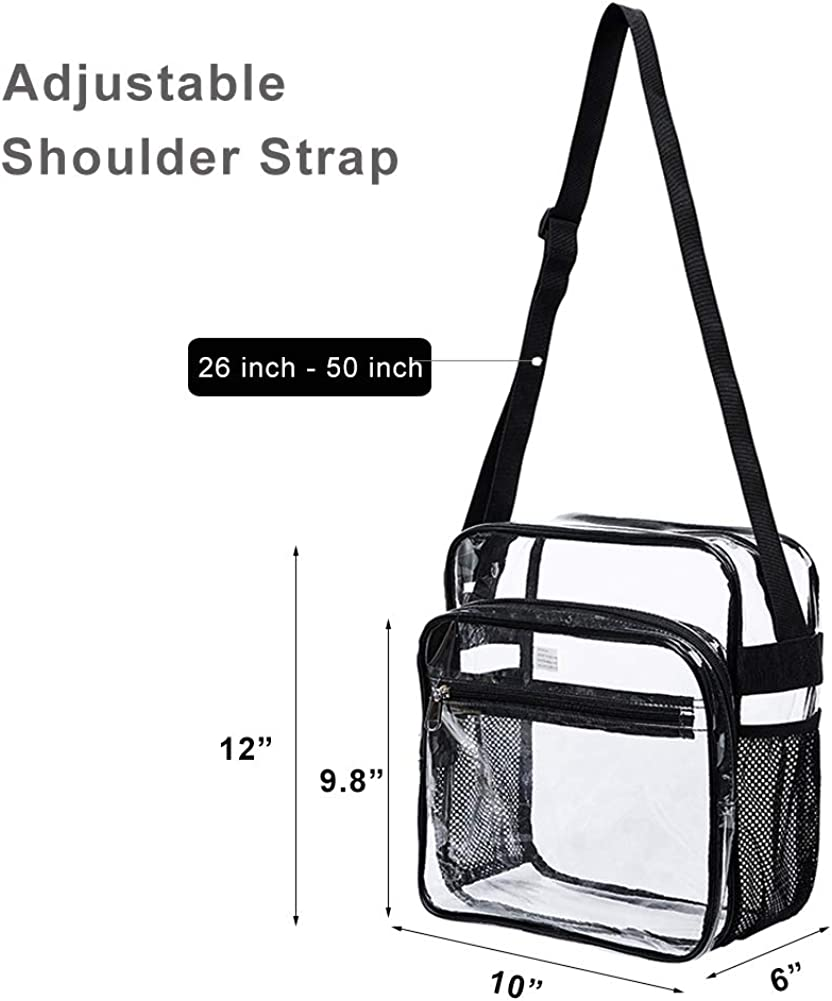 Jucoan 2 Pack Clear Purse with Inner Pocket Sports Games and Concerts Stadium Approved Transparent Cross Body Shoulder Messenger Bags with Adjustable Strap for Work School