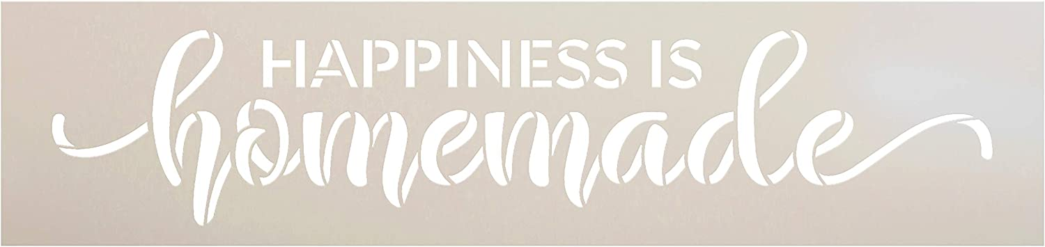 Happiness is Homemade Stencil by StudioR12   Reusable Mylar Template   Paint Wood Sign   DIY Rustic Home Decor   Craft Cursive Script Word Art Gift - Family - Friend   Select Size (15 x 3.5)