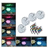 (4pack) Hallomall™ Multicolor Submersible LED Lights, Underwater Pond Lighting/ Fountain Lighting, LED Accent Lights with Ir Remote Control for Wedding /Centerpiece /Halloween/ Party/ Christmas/ Stage Decors