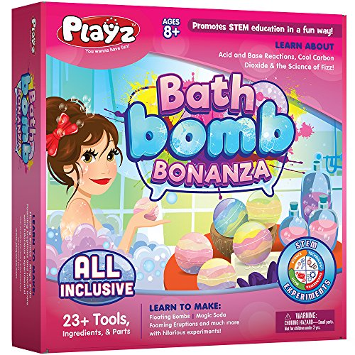 Playz Bath Bomb Bonanza Science Activity, Craft, & Experiment Kit - 23+ Tools to Make Magic Soda, Foaming Eruptions, Floating Bombs & More for Girls, Boys, Teenagers, & Kids Ages 8+ by Playz (Image #6)