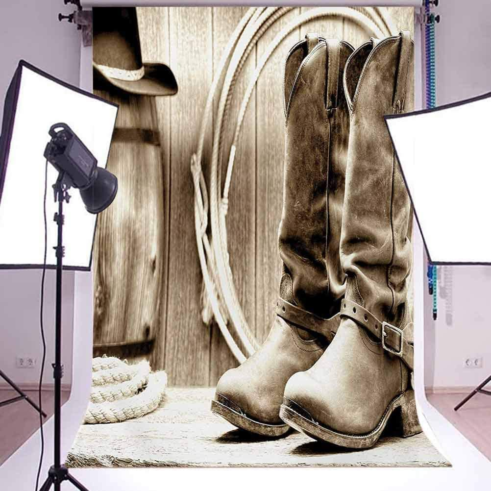Traditional Rodeo Supplies with Boots in Vintage Nostalgic Wild Photo Background for Photography Kids Adult Photo Booth Video Shoot Vinyl Studio Props Western 6x8 FT Photography Backdrop