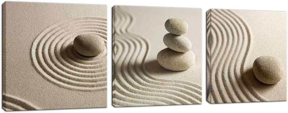 Innopics 3 Piece Canvas Wall Art Zen Stone and Sand Giclee Print Artwork Calm Peaceful Still Life Picture Painting Modern Spa Room Wall Poster Decor Framed for Home Office Bedroom Bathroom Decoration