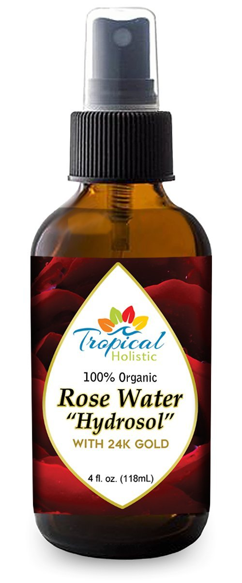 24K Gold Rose Water Facial Toner by Tropical Holistic – 100% Pure Organic Natural Bulgarian Rose Rosewater Hydrosol Face Spray - 4 oz