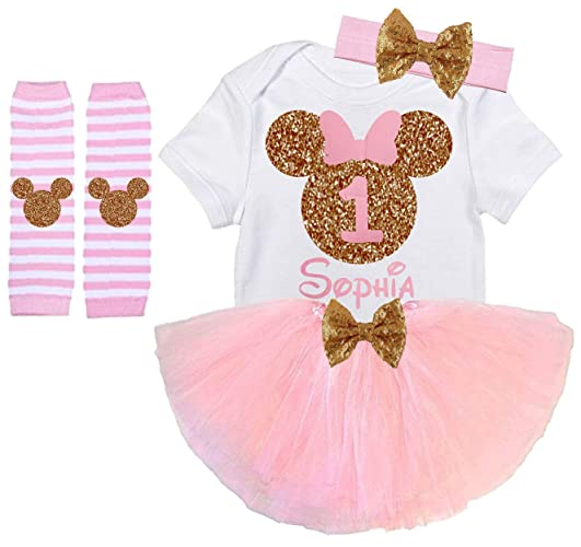 374463812d Amazon.com  Girls Minnie First Birthday Outfit Handmade Light Pink Gold   Handmade