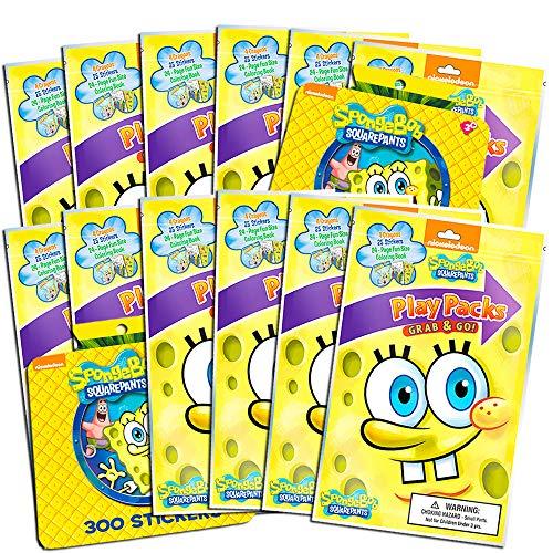 - Nickelodeon Spongebob Squarepants Party Favors Pack ~ Bundle of 12 Spongebob Squarepants Play Packs with Stickers, Coloring Books, Crayons with Bonus Spongebob Stickers (Spongebob Party Supplies)