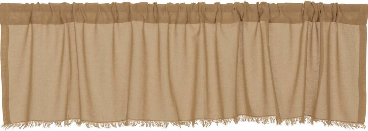 VHC Farmhouse 16x60 Valance Kitchen Curtains Rod Pocket Tobacco Cloth Khaki Tan