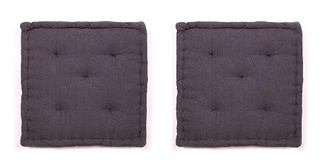 Homevibes Cojines para Silla, Juego de 2 Cojines para Silla de 60 x 60 x 12 cm para Interior y Exterior de 100% Algodon, Cojin para Suelo