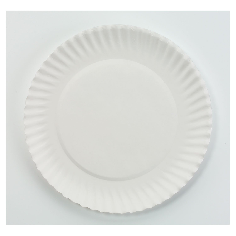 AJM Packaging PP6GREWH White Paper Plates, 6-Inch dia, 100/Bag, 10 Bags/Carton