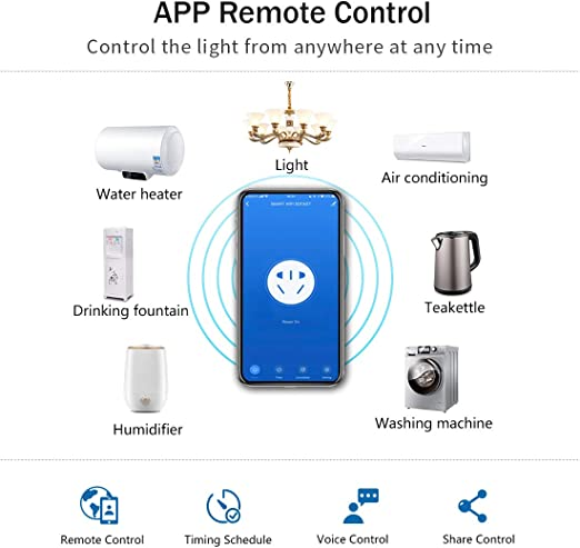 Glass Panel Black Switched WiFi Wall Outlet with Timer,Smart App Remote Control LED Indicator Work with Alexa//Google Home Devices CNBINGO Single Smart Power Socket AC 13Amp 240V
