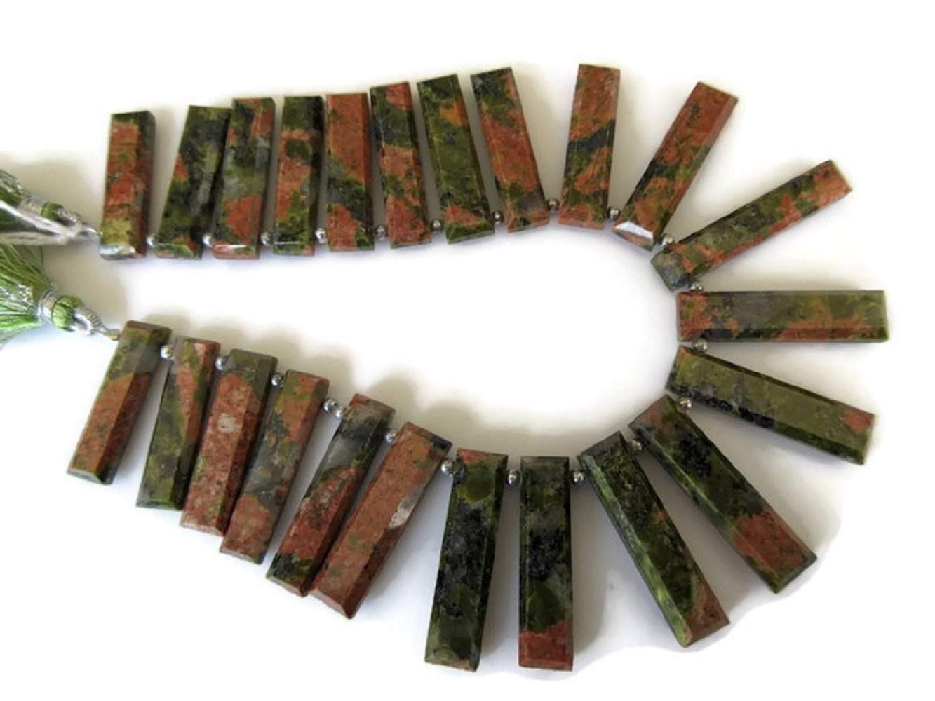 Natural Unakite Long Baguette Shaped Step Cut Side Drilled Faceted Cabochon, Unakite Briolette Beads, Unakite Jewelry, GDS899 (8 Inch, 22pcs)