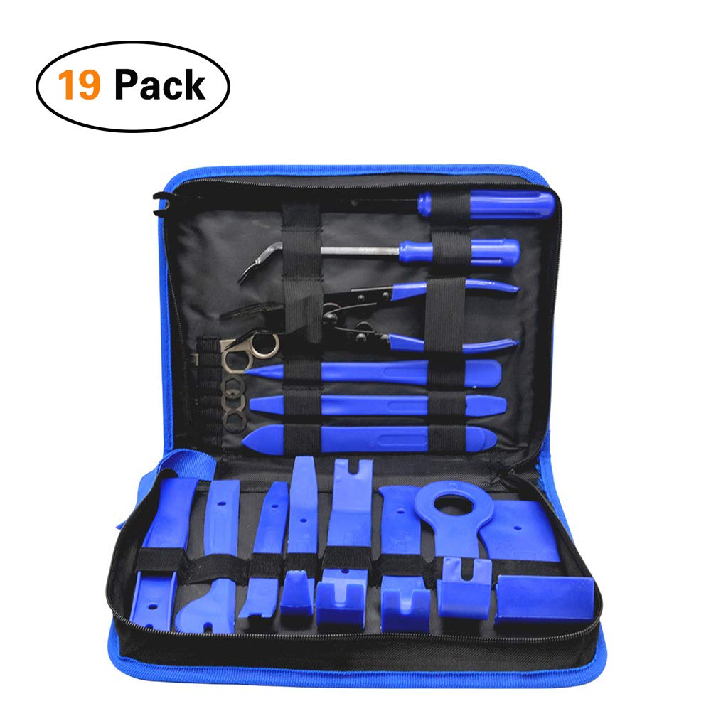 YILUSHUN Panel Removal Tool Kit-19pcs Auto Car Audio Radio Interior Door Panel DIY Demolition Installation Pry Tool Repair Hand Tools Kit Screwdriver Keys Pliers Remover(Blue)
