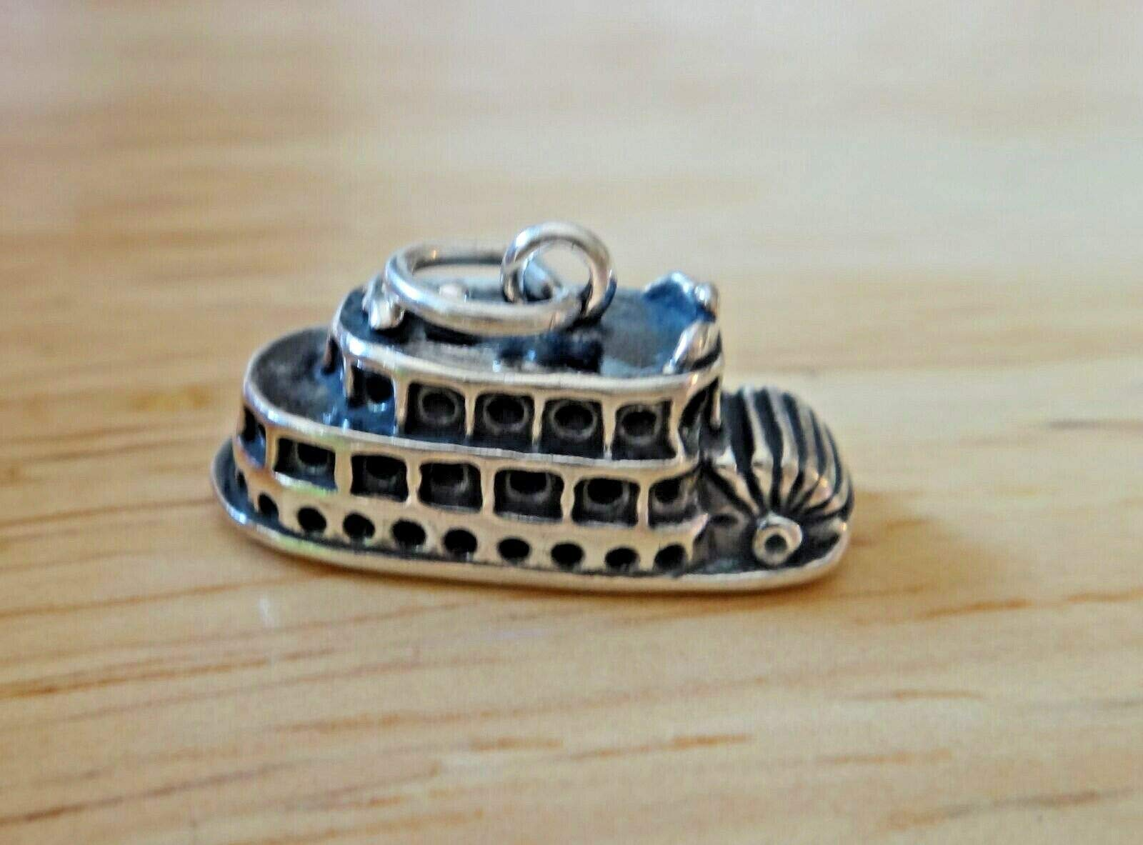 Sterling Silver 3D 18x19mm Mississippi River Paddle Boat Charm DIY Crafting by Wholesale Charms by Wholesale Charms