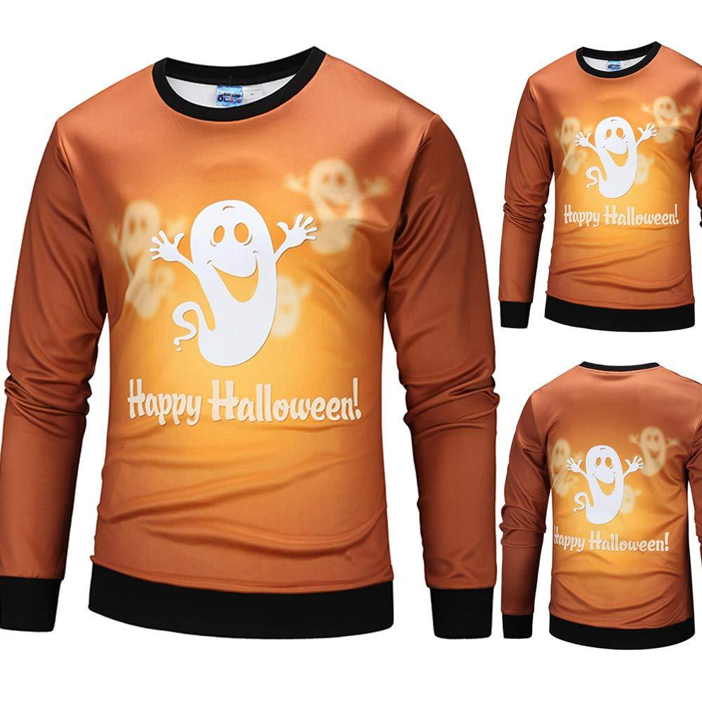 Farjing Mens Casual Halloween Ghost Spirit 3D Print Party Long Sleeve Hoodie Top Blouse(L,Orange) by Farjing