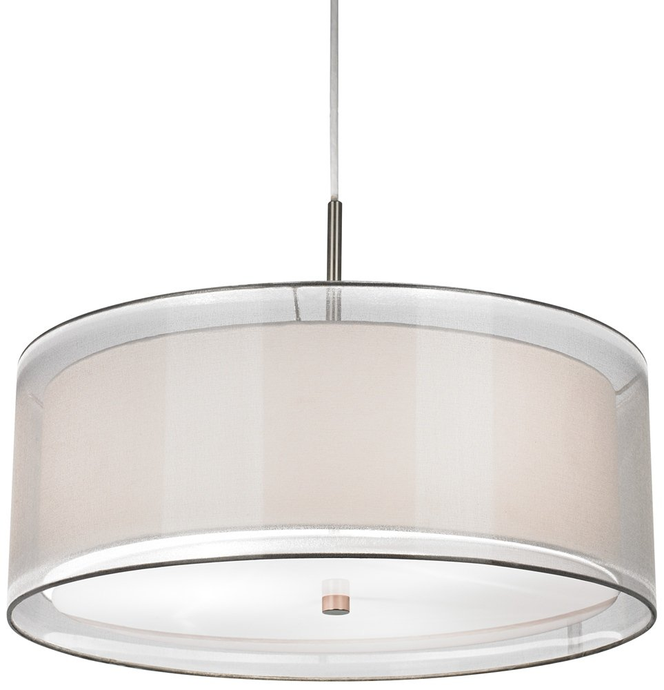 Possini Euro Double Drum 20 Wide White Pendant Light Ceiling