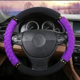 "Rayauto 3D 38CM/15"" No Smell Cloth wraping Eco Rubber Car Steering Wheel Cover (Black purple)"