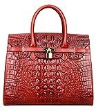 PIJUSHI Crocodile Handbags And Purses Satchel Office Padlock Handbag For Women 22130 red