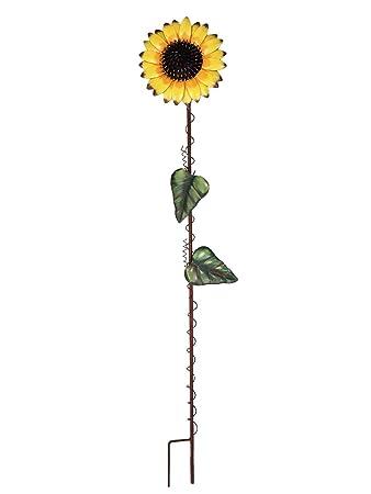 39 Inch Metal Sunflower Garden Stake Large Flower Yard Stake Decor