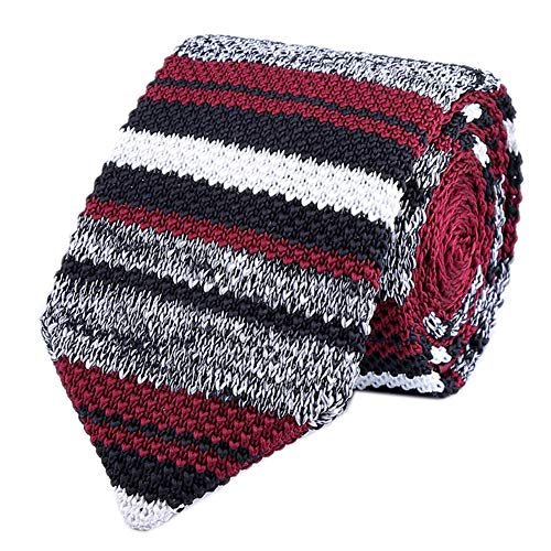 Men Red Grey Tweed Knit Silk Neck Ties Striped Ugly Sweater Smart Soft Neckties ()