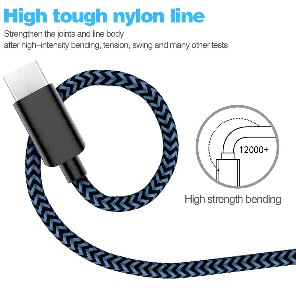 USB Type C TNSO Cable 5Pack 3//3//6//6//10FT Black/&Blue USB C Cable Nylon Braided Type Cable Fast Charging for Samsung Galaxy S10// S9 // S9+,LG V30 V20 and More
