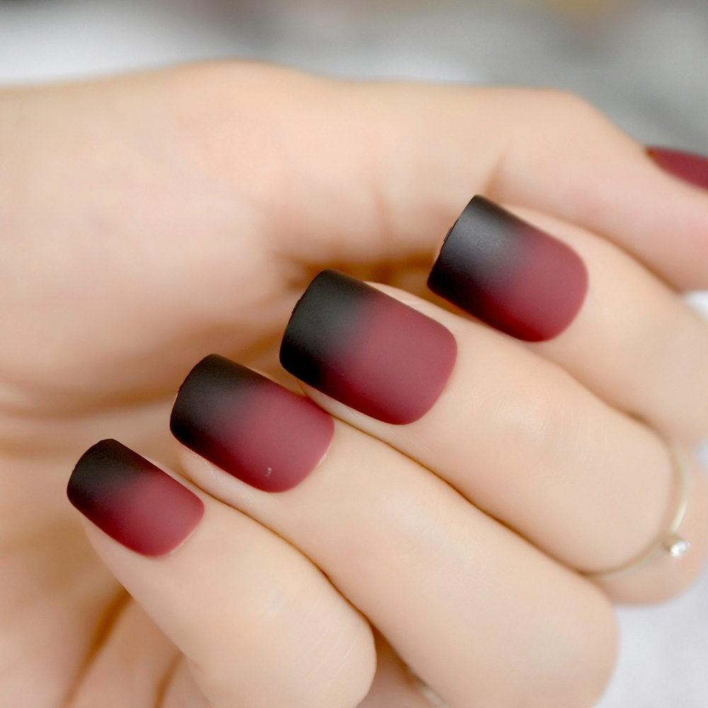 Amazon.com : Gradient Short French Nail Tips Black Red Wine Round Matte Design Kit False Nails Art Decoration For Women Makeup Tool Z858 black red : Beauty