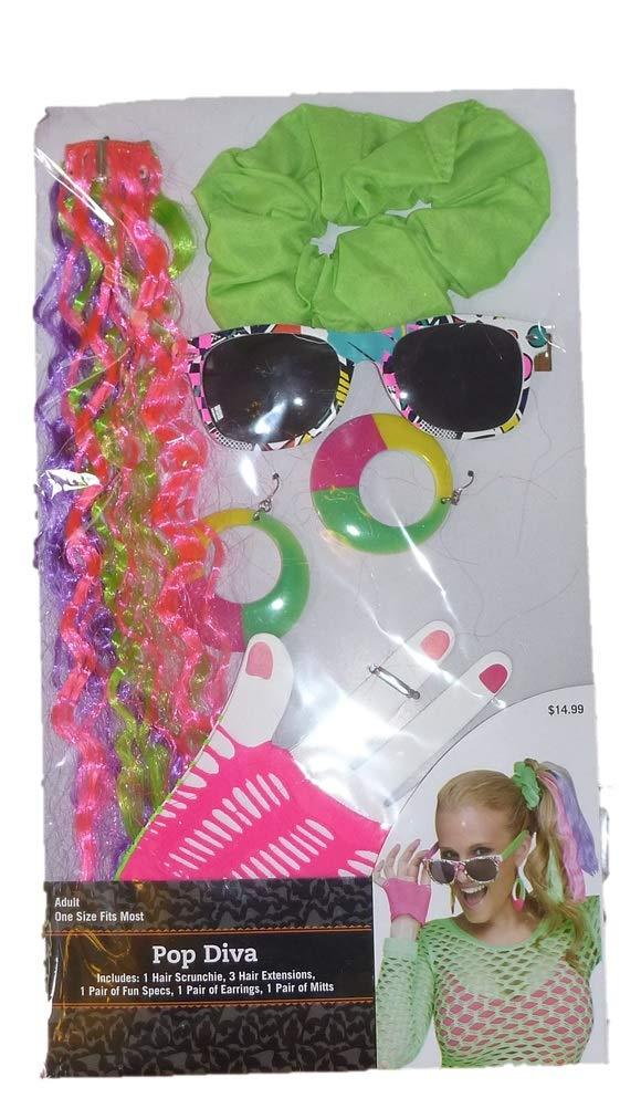 Womens Adult Halloween Costume Kit- 20s, 50s, 60s, 70s Glasses Hair Jewelry (Neon POP Diva- 1980s)
