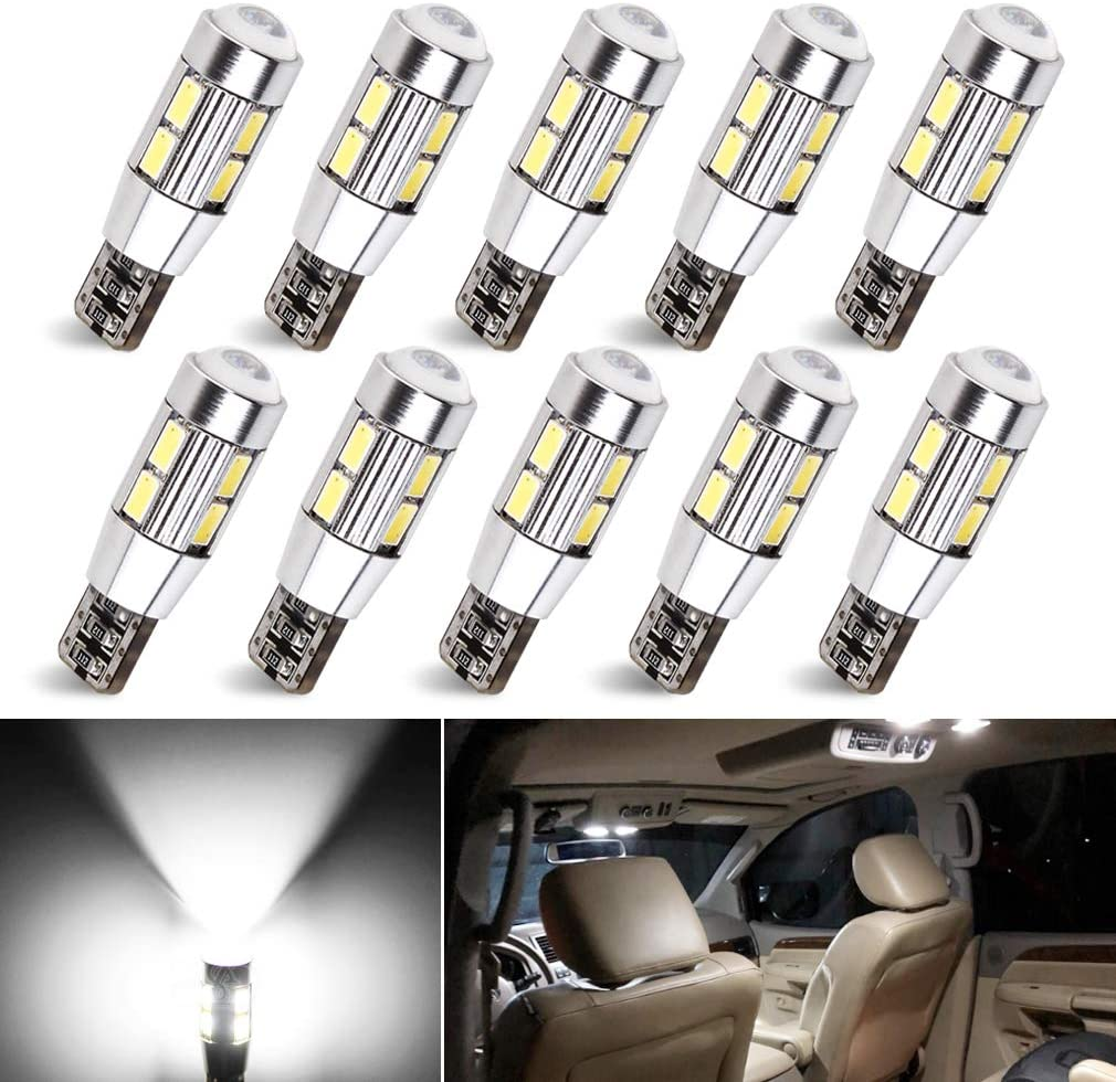 2x White 1-SMD LED 12v Dashboard Interior Light Bulbs 501,W5W,T10