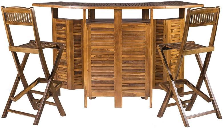 Tavolo Da Giardino Pieghevole Con Sedie.Tavolo Da Bar Allungabile Con Sedie In Legno Massello Di Teak