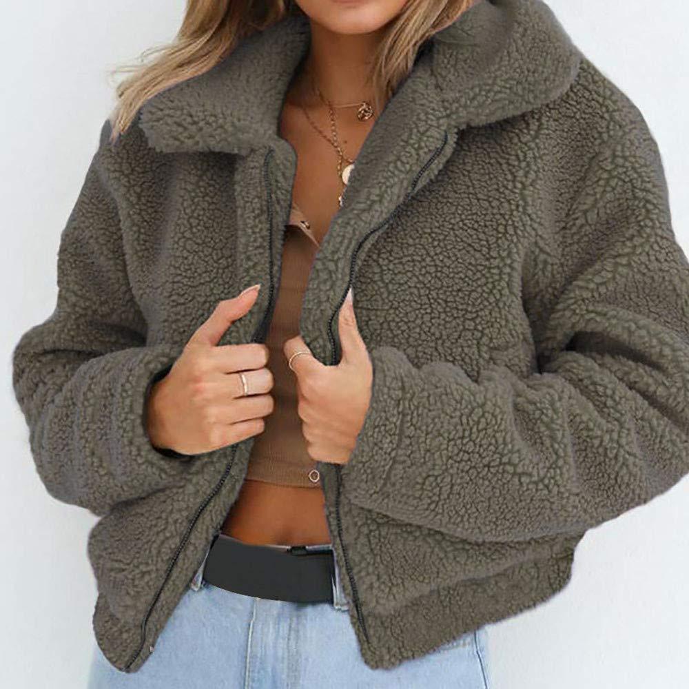 Keepwin Womens Warme Künstliche Wolle Mantel Reißverschluss