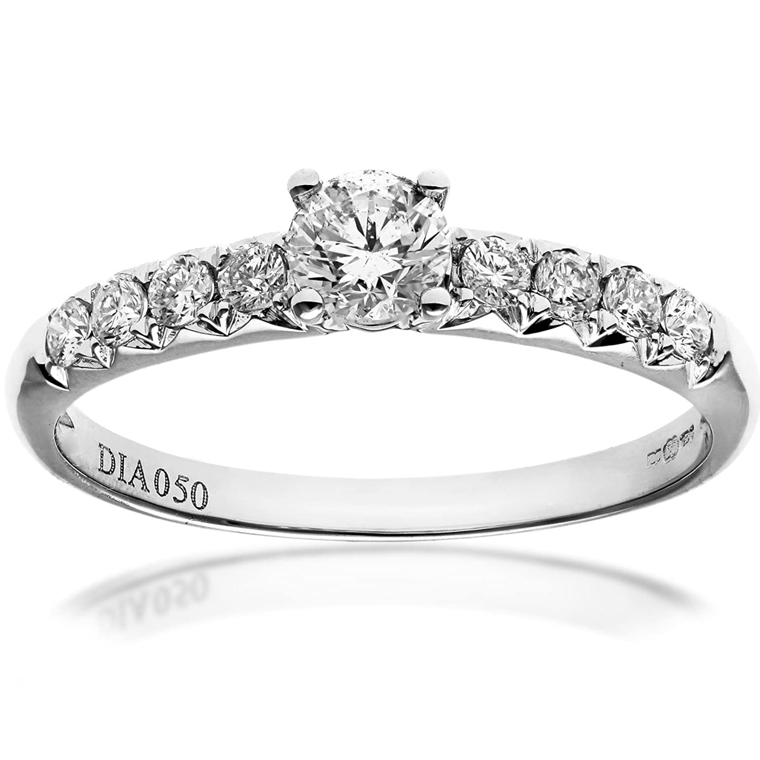 Naava 18ct White Gold Shoulder Set Engagement Ring, IJ/I Certified ...