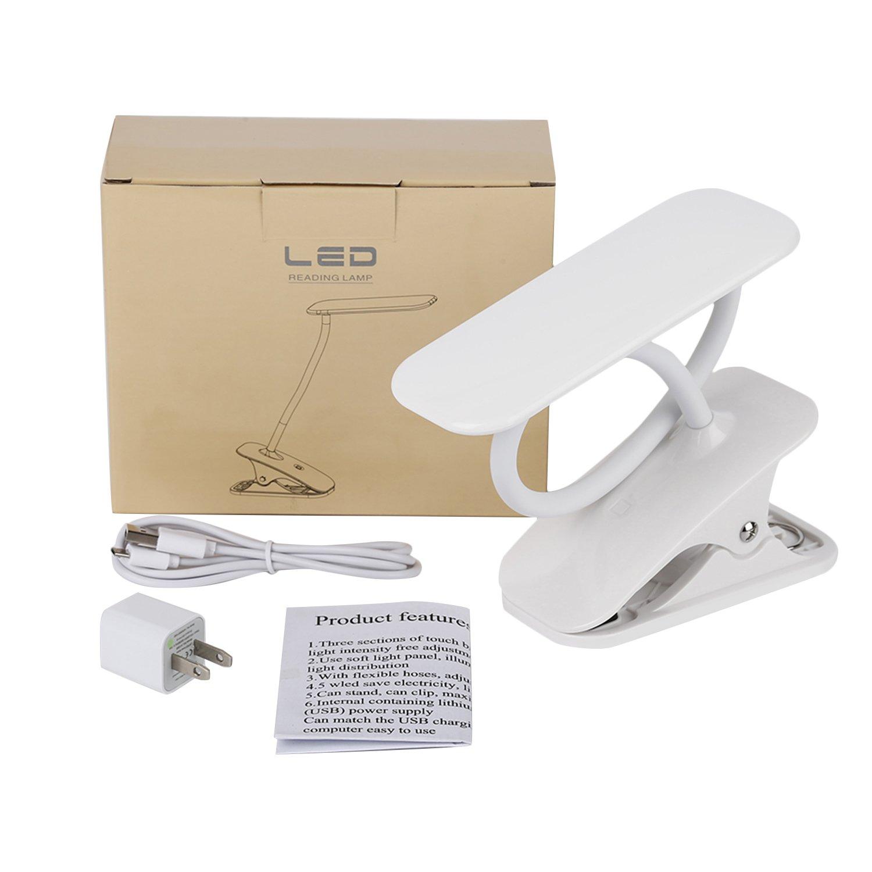 ... lámpara de mesa con USB con suministro de corriente regulable cuello de cisne 3 niveles de brillo ajustable para cama Smart Touch ordenador portátil ...