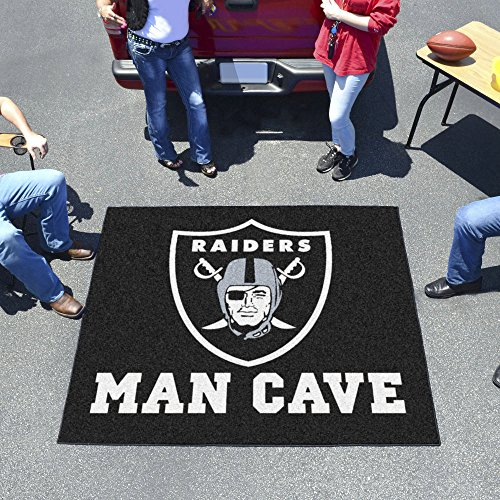FANMATS NFL Oakland Raiders Man Cave Outdoor Area Rug; 5 x 6