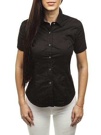 BOLF Damen Hemd mit Knopfleiste Kurzarmhemd Slim Fit LAVIINO NS02 Schwarz L   B2B  ce7ed9480d
