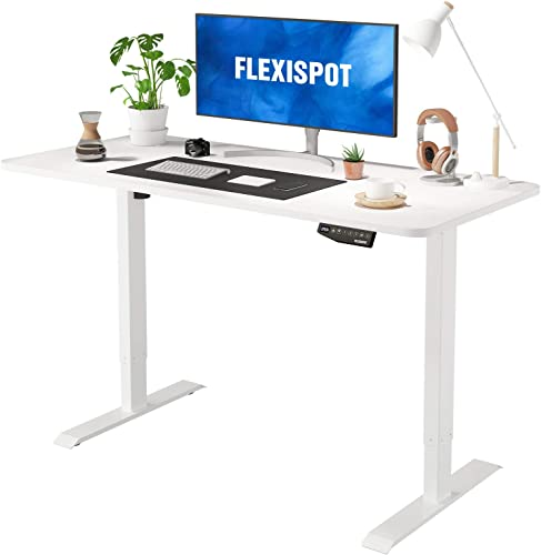 Flexispot EN1 Electric Stand Up Desk Computer Workstation 55 x 28 Inches Whole-Piece Desk Ergonomic Memory Controller Standing Height Adjustable Desk Top Base Primo White Frame 55″ White Top