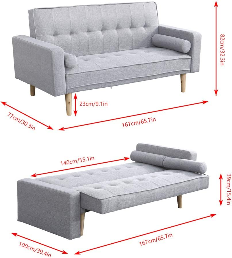 Boju Modern Grey Sofa Bed 2 Seater Living Room Linen Fabric Double Seater Futon Sofa Couch Convertible For Friheten Sleeper Adult Dorm Bedroom Office Reception Room Amazon Co Uk Kitchen Home