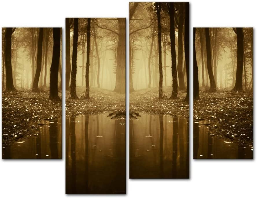 Amazon Com Autumn Forest With Fog And Rain Wall Art 4 Pieces Paintings Prints On Cnavas Modern Artwork For Living Room Home Decor Posters Prints