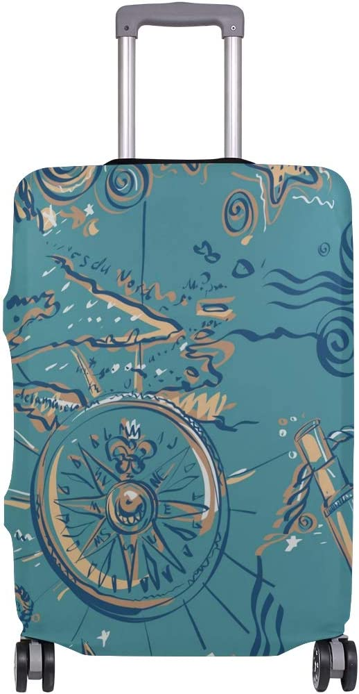 18//20//24//28//32 Inch Spandex Travel Luggage Cover Elements In A Marine Style Fashion Creative Design Anti-Scratch Stretchy Travel Suitcase Protector Baggage Covers