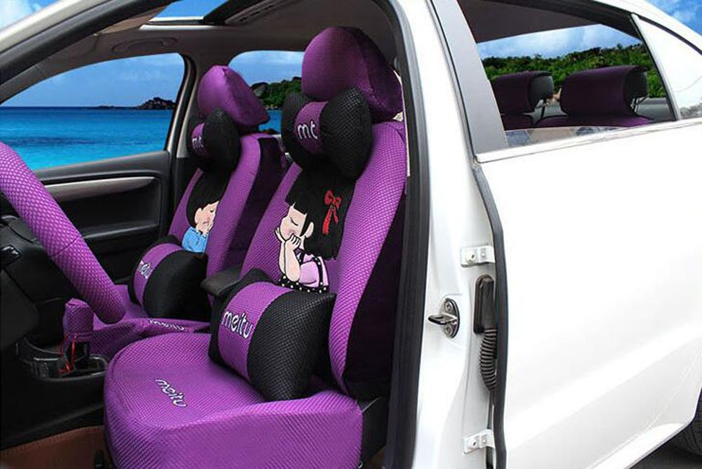 20pcs/SET new 2016 luxury cartoon couples Seat Covers for cars Front & Back car covers four seasons Universal car seat cover car interior Purple V5607