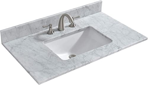 WOODBRIDGE 37 x 22 Carrara Marble Vanity Top, High-end and Classic Natural Stone Top, White Rectangular Vitreous China Bowl with Safety Overflow, Fits Most Standard 36 W x 21 Vanity Cabinet