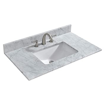 Woodbridge Carrara Marble Vanity Top With Rectangular Under Mount