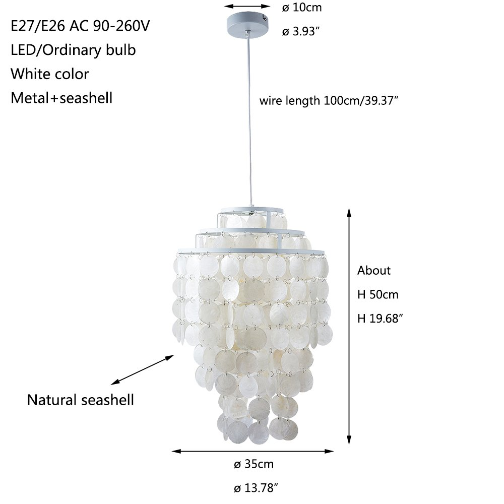 Newrays 3 Circle White Capiz Shell Chandelier Round Pendant Wiring A Bulb Light Fixture Lamp Ceiling