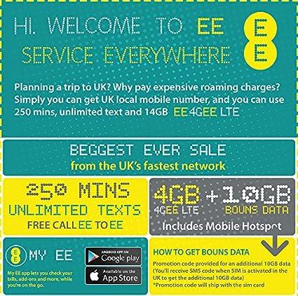 Amazon.com: Reino Unido EE preinstalado tarjeta SIM de ...