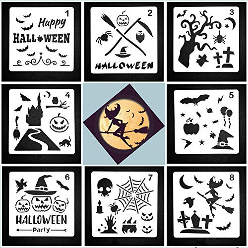 Lirener 8Pcs Bullet Journal Stencil Graphics Stencil Template Set for Halloween Holiday Decoration, Window, Wall Art, Journaling, Diary, Scrapbooking, Card, Halloween Series Design, 13x13cm