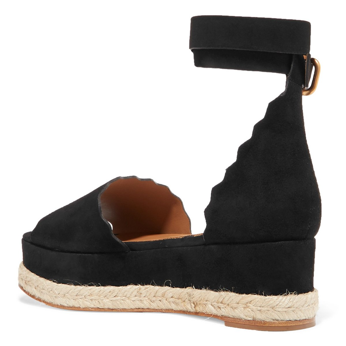 YDN Women Espadrille Peep Sandals Toe Ankle Straps Wedge Sandals Peep Low Heels Platform Shoes with Buckle B07FYBWZWS 9.5 M US|Black 2dd898