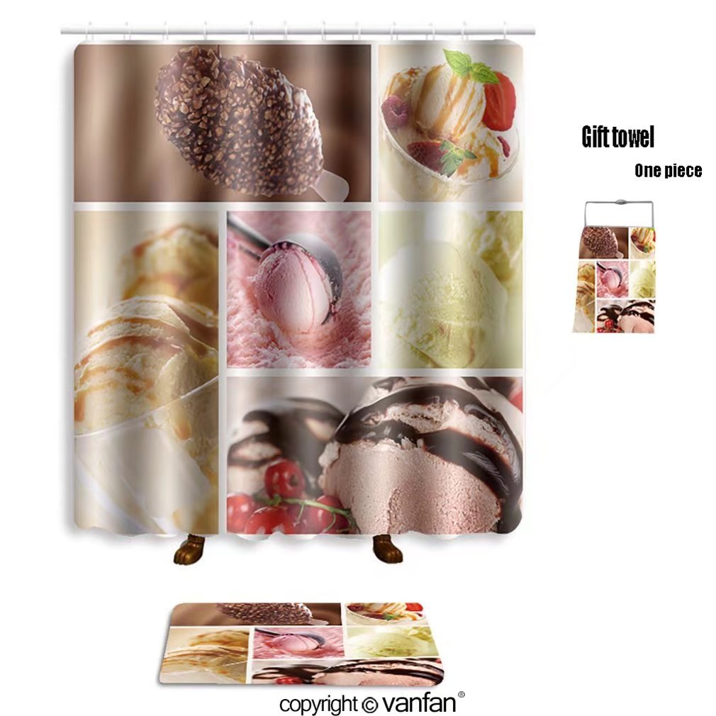 vanfan bath sets with Polyester rugs and shower curtain ice cream set 56450680 shower curtains sets bathroom 60 x 72 inches&23.6 x 15.7 inches(Free 1 towel and 12 hooks)