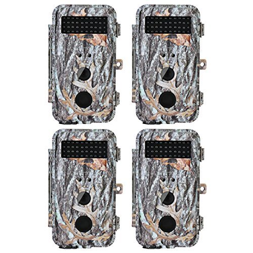 BlazeVideo 4-Pack 16MP Night Vision Game Trail Hunting Wildlife Cameras, Hunter Scouting Game Cam Motion Sensor Activated Waterproof with 40PCs IR LEDs & PIR Up to 65ft, Record Video, 2.36'' LCD Screen by BlazeVideo