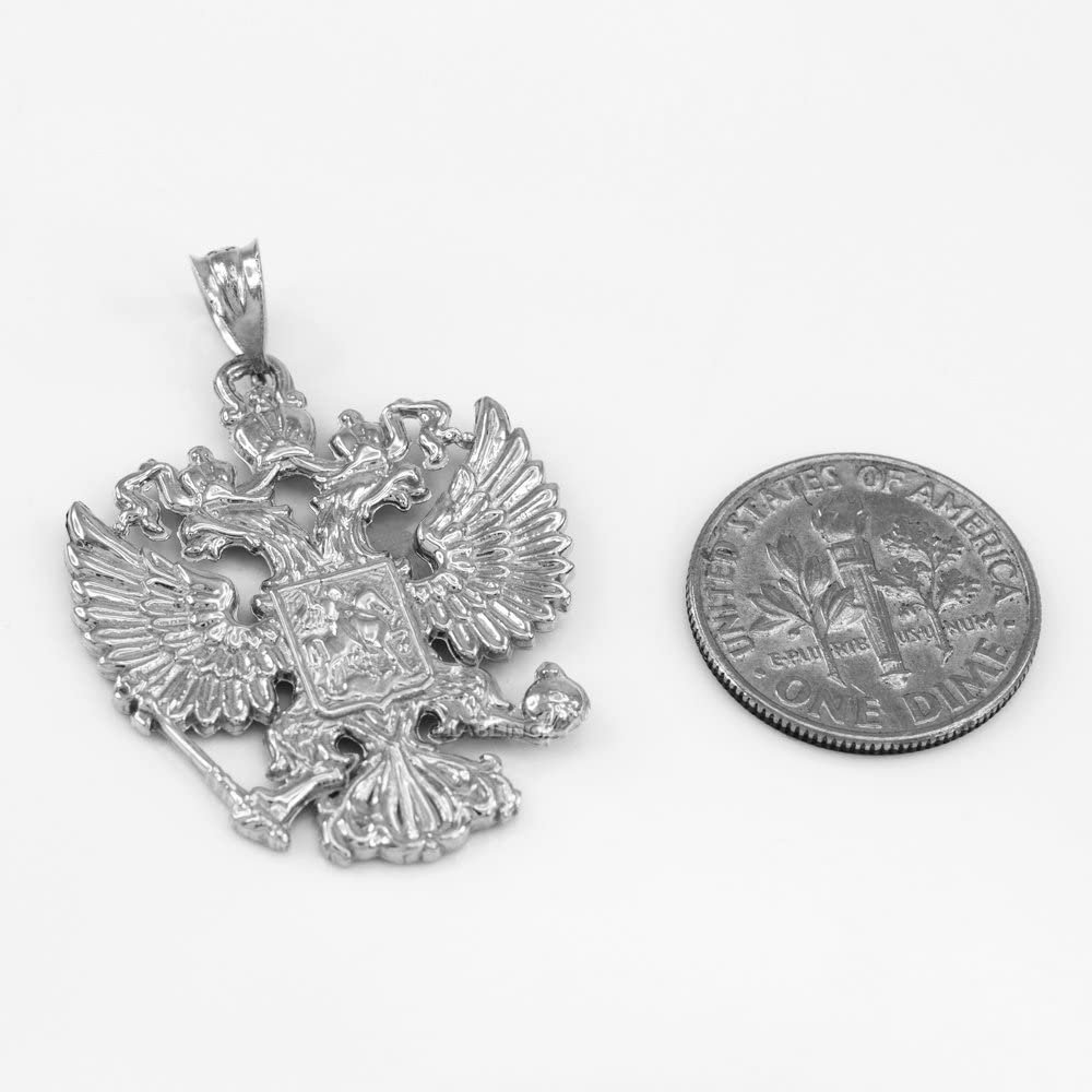10k White Gold Russian Imperial Coat of Arms Double-Headed Eagle Slavic Crest Necklace