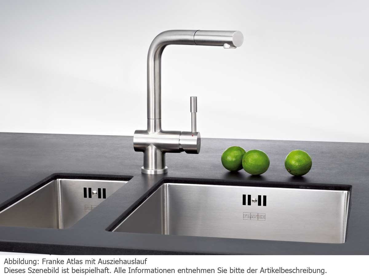 pull of kitchen steel faucets single down sprayer worth bernard with franke out kohler stainless handle faucet in